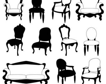 BACK TO SCHOOL Sale Chair Clip Art Clipart, Chair Silhouettes, Furniture Clip Art Clipart, Decor Clip Art Clipart - Commercial and Personal