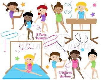 BACK TO SCHOOL Sale Gymnastics Clipart, Gymnastics Clip Art, Gymnast Clipart, Gymnast Clip Art Vectors, Great for Gymnastics Birthday - Comm