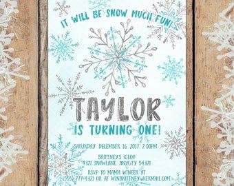 Winter Onederland Birthday Invitation, Blue and Silver Snowflake Winter Onederland Party Printable Invitation