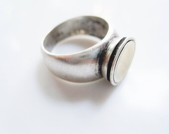 Two Tone Ring - Sterling Silver and Gold - Israeli Designer Ring - Size 8 - Minimalist