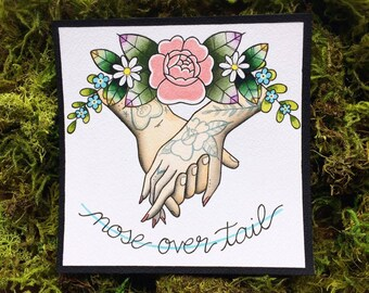 Alkaline Trio Nose Over Tail Watercolor Tattoo Flash PRINT by Michelle Kent