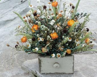 RESERVED Dried Flower Bouquet Floral Arrangement Strawflowers Wild Field Grass Farmhouse Chic Drawer Planter Wood Ammobium