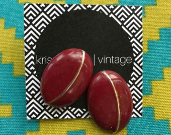 Free Shipping!: Red Vintage Mod Statement Earrings With Gold Accents And Stud Backing