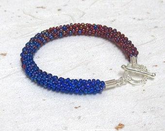 Kumihimo beaded bracelet Blended bracelet Blue and red bracelet