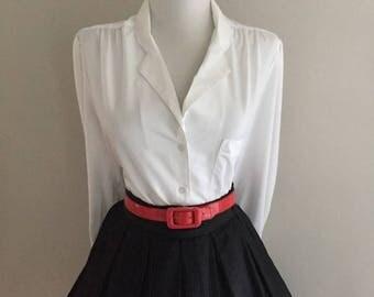 Vintage 60s Blouse  + Mad Men + Diane Von Furstenberg + Sexy Secretary Blouse + 1950s 1960s Button Down Long Sleeve Blouse Top