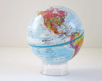 Vintage Earth Globe Replogle, Mini 4.5 inch Replogle Globe, Worlds Unlimited Replogle Miniature Globe, Gifts Him Office Den Decor