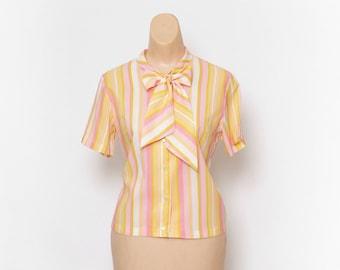 Vintage 50s stripe shirt / Stripe shirt / Stripe blouse / Vintage blouse / Vintage Summer Top / Summer tops / Pinup / Bow Blouse / 60s shirt