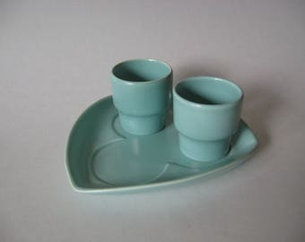 Poole Pottery England mid century vintage ceramic egg cups set of 2 robins egg blue with plate