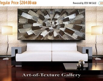 SALE 56 x 30 Custom Original Abstract Heavy Texture Brown Neutrals Grays Modern Oil Painting by Je Hlobik