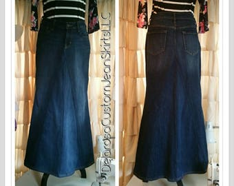 DELAROSA Custom to Your Size Long Jean Skirt size 0 2 4 6 8 10 12 14 16 18 20 22 24 26