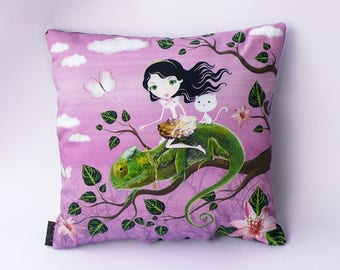 "Cushion ""Fairy on a chameleon"" Purple tones"
