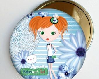 """Petit miroir de poche """"Marguerite"""" bleu, accessoire de sac, cadeau fille, fabriqué ici,"""