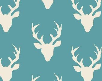 Rustic Fabric Deer Woodland, Stag Head, Rustic Deer Nursery, BUCK FOREST LAKE, Art Gallery Fabrics, Bonnie Christine, Cotton Quilt Fabric