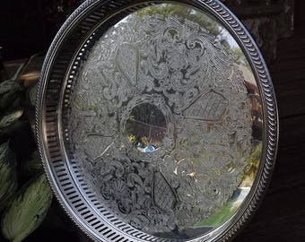 Silver Serving Tray, Poole Silver Plate Tray, Round Cocktail Tray, Ornate Engraved Tray, Wedding Tray, Footed Bar Tray, Formal Silver Tray