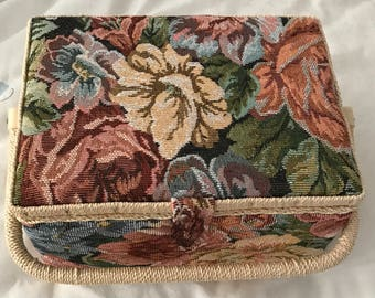 Tapestry Patterned Wooden Sewing Box