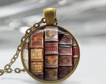 ON SALE Book Necklace, Librarian Jewelry, Library, Bibliophile, Book Lover, Bookworms, Art Pendant in Bronze or Silver with Link Chain Inclu