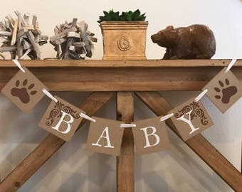 Baby Bear Baby Shower Banner White and Brown Baby Shower Decor Woodland Nursery Decoration Baby Bear Nutsery Decoration