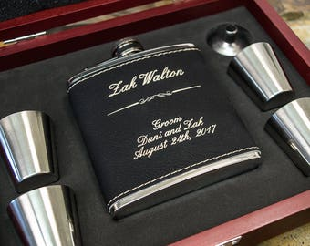 Groomsmen Flask, Personalized Flask- Boyfriend Gift- Engraved Black Leather Flask, Vegan- Groomsmen Gifts, Groomsman Gift, Groomsman Flask