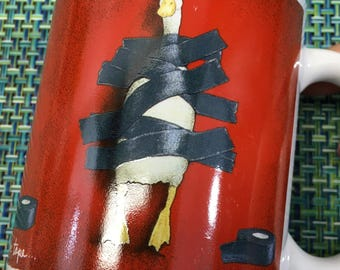"Novelty Ceramic Coffee Mug ""Duck Tape"" by Will Bullas for Herman Dodge- funny coffee mug, duck taped to chair mug, Will Bullas art"
