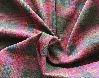 """Vintage Gray & Hot Pink Plaid Polyester Knit Fabric 72"""" PRICE PER YARD-polyester double knit plaid fabric, plaid fabric,1970's fabric, plaid"""