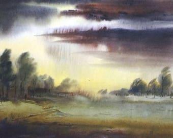 Rural Strom - Handpainted Watercolor Painting on Paper