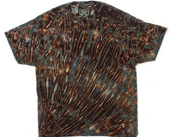XL Shibori Men's T Shirt Tie Dye Black Greys Browns Hand Dyed