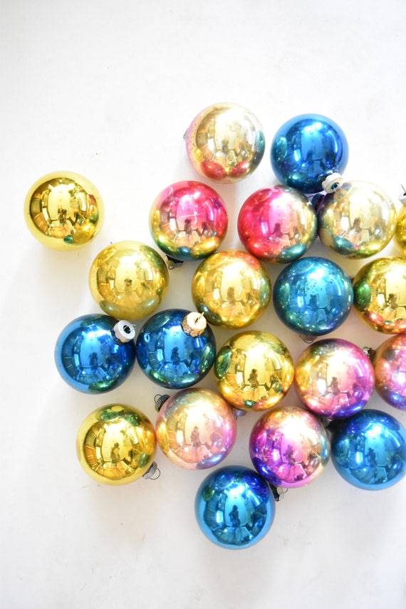 shiny brites pink multicolored glass christmas ball ornaments / set of 21