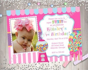 Sweet Shoppe Invitation Invite Sweet Shoppe Party Candyland Birthday Party Invitation Photo Picture