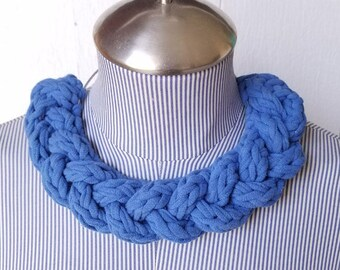 Blue Statement Necklace - Recycled Material - Fabric Necklace - Braided Tshirt Necklace