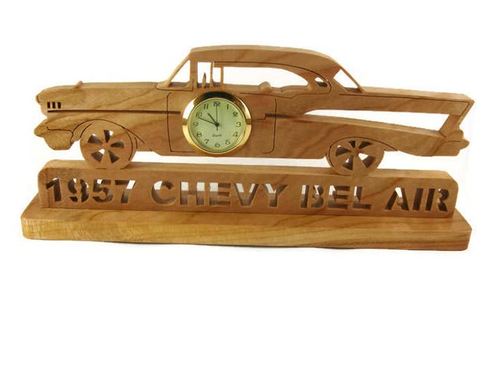 Wooden 1957 Chevy Bel Air Desk Or Shelf Clock Office Art Decor Handcrafted From Cherry Wood By KevsKrafts