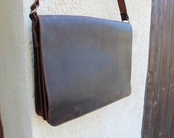 Leather messenger men, 17'' laptop bag/Men's Genuine Leather messenger, briefcase, ! Camera bag!Leather briefcase!sac cuir bussiness
