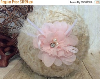 12% off Baby pink flower headband Newborn Headbands Baby Headband adult headband Baby Hairbow photo prop baptism headband  - headband baby -