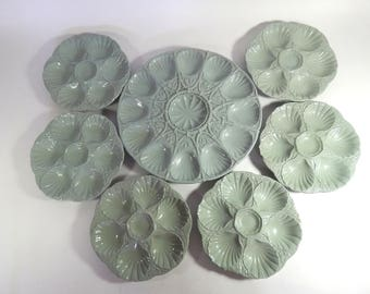 6 French Vintage Oyster Plates  with Platter in Majolica made by SARREGUEMINES c.1920-1950