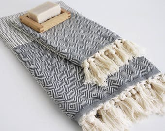 NEW / SET/ Dark Gray / Diamond Style Turkish Beach Bath Towel Peshtemal and Head-Hand Towel / Wedding Gift, Spa, Swim, Pool Towels and Pareo