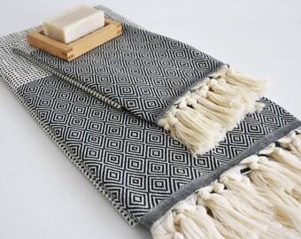 NEW / SET/ Black / Diamond Style Turkish Beach Bath Towel Peshtemal and Head-Hand Towel / Wedding Gift, Spa, Swim, Pool Towels and Pareo