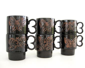 Ceramic Coffee Cups Stacking Set Tea Cups Vintage Dark Brown Mugs Redware Butterfly Nature Lover Decor Made In Japan