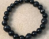 Nuummite Hypersthene & Black Tourmaline Bracelet with Sterling Silver Accent for PTSD