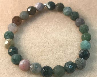 Fancy Jasper Bracelet 8mm Faceted Round Bead Stretch Bracelet with Sterling Silver Accent