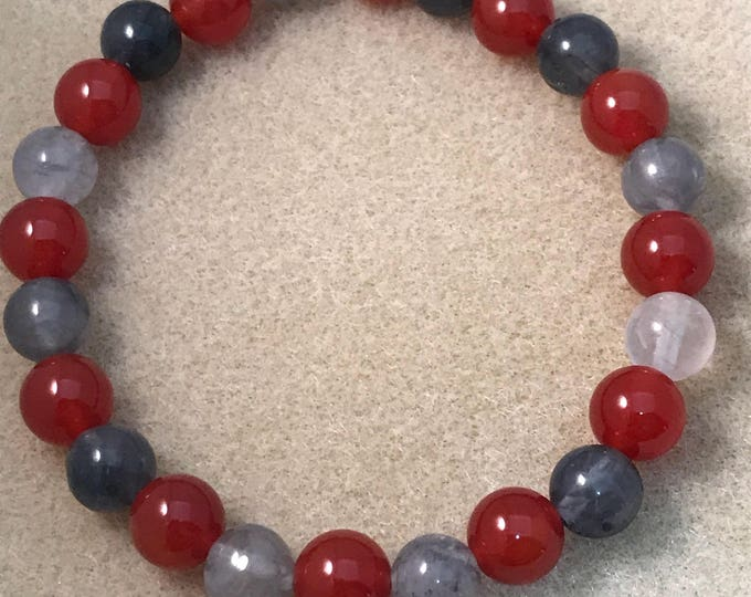 REBOOT: Tibetan Quartz & Carnelian Deep Sienna Red 8mm Round Stretch Bead Bracelet with Sterling Silver Accent