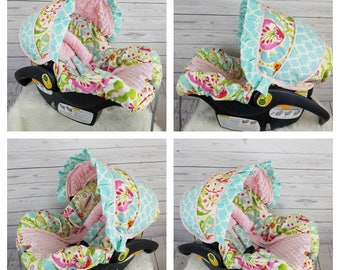Grey White Pink Chevron With Charcoal Minky Girl Infant Car