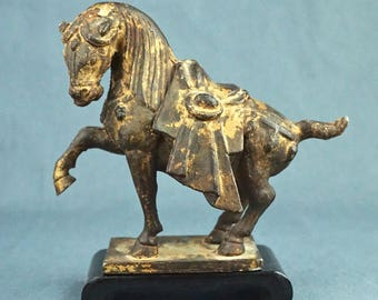 Iron Reproduction of TANG DYNASTY HORSE, With Wood Stand, Circa 1970's