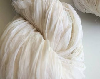Silk chiffon ribbon, 100g, white, knitting yarn, crochet yarn, ribbon yarn. Craft ribbon, knitting ribbon.