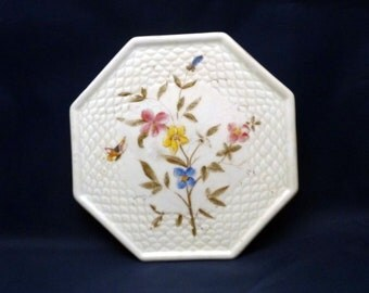 Vintage Octagon-Shaped Trivet with Flowers and Butterfly Design, 1980s