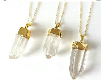 SALE - Quartz Necklace, Raw Quartz Crystal Point Necklace, Crystal Necklace, Long Necklace, Layering Necklace, Gemstone Necklace, Gifts For