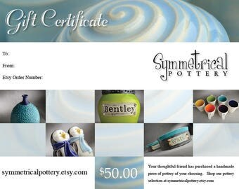 Gift Certificate to Symmetrical Pottery