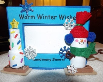 3-D blue foam picture frame with marshmello & candy snowman - xsmccf