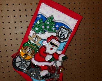 Handmade finished 16 inch felt & sequined Christmas Santa riding a motorcycle on Route 66 - fsk29