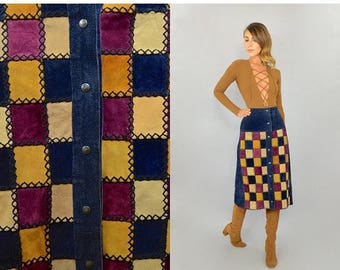 SUMMER SALE 70's Leather Patchwork Skirt