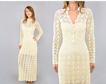 SUMMER SALE 70's Cream Crochet Maxi Dress