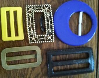 set 5 vintage belt buckles